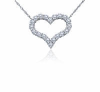 Mini Open Heart Prong Set Round Cubic Zirconia Necklace