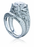 Monterey 3.5 Carat Round Cubic Zirconia Antique Engraved Bridal Pave Wedding Set