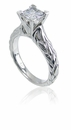 Elle 1 Carat Princess Cut Cubic Zirconia Cathedral Engraved Solitaire Engagement Ring