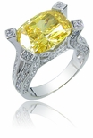 Glamoura 7 Carat Elongated Cushion Cut Pave Cubic Zirconia Engagement Ring
