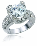 Opulence 3.5 Carat Round Cubic Zirconia Pave Solitaire Engagement Ring