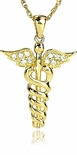 Caduceus Diamond Look Cubic Zirconia Pave Set Medical Symbol Charm Pendant