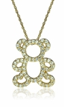 Teddy Bear Diamond Look Cubic Zirconia Pave Charm Pendant Necklace