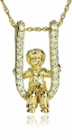 Baby Boy Toddler On Swing Diamond Look Cubic Zirconia Pave Charm Pendant