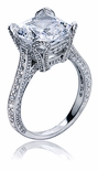 Genevia 5.5 Carat Cushion Cut Cubic Zirconia Cathedral Estate Style Micro Pave Solitaire Engagement Ring