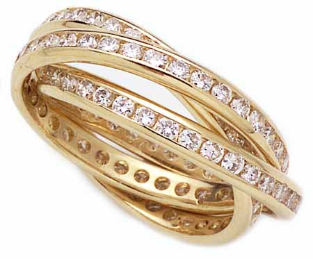 Channel Set Round Cubic Zirconia Rolling Ring Trinity Ring Russian