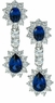 Biltmore Estate Style Lab Created Sapphire Oval Pear Halo Earring Drops
