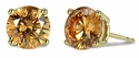 1 Carat Each Round Cubic Zirconia Man Made Simulated Cognac Stud Earrings