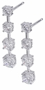 Graduated Round Cubic Zirconia Journey Anniversary Drop Earrings