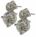 Fancy Round Cubic Zirconia Diamond Look Figure Eight Earrings