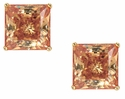 1.5 Carat Each Princess Cut Simulated Diamond Cubic Zirconia Cognac Stud Earrings