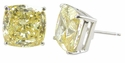 2.5 Carat Each Cushion Cut Simulated Diamond Canary Cubic Zirconia Stud Earrings