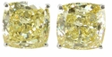 4 Carat Each Cushion Cut Cubic Zirconia Simulated Diamond Canary Stud Earrings