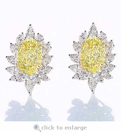 Fieara 9 Carat Oval Cubic Zirconia Pear Marquise Cluster Earrings