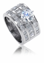 Driscoll 2 Carat Round Cubic Zirconia Baguette Princess Cut Channel Set Wide Solitaire Ring