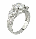 Amore 2 Carat Cubic Zirconia Round with Hearts Three Stone Estate Style Engraved Engagement Ring
