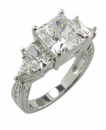 Princess Cut Cubic Zirconia Baguette and Trillion Estate Style Engraved Engagement Ring