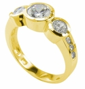 Ora Three Stone Round Bezel Set and Channel Set Cubic Zirconia Anniversary Ring