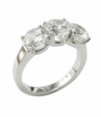 Cullier 1 Carat Each Round Three Stone Cubic Zirconia Anniversary Ring