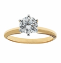 Round Cubic Zirconia Six Prong Classic Solitaire Engagement Rings