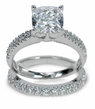 Nora 2.5 Carat Cushion Cut Cubic Zirconia Pave Bridal Set
