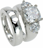 Dianna 4 Carat Cushion Cut Cubic Zirconia Three Stone Ring and Matching Wedding Band