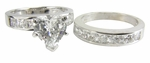 2.5 Carat Heart Cubic Zirconia Channel Princess Cut Bridal Set