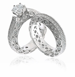 Fererra 1 Carat Round Cubic Zirconia Pave Wedding Set with Matching Eternity Band