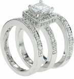 Bacara 1 Carat Princess Cut Cubic Zirconia Halo Pave Three Ring Bridal Set