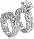 Claudina 3 Carat Round Cubic Zirconia Wedding Set with Matching Band