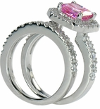 Pandosta 1.5 Carat Pink Princess Cut Cubic Zirconia Pink Halo Bridal Set with Pave Band