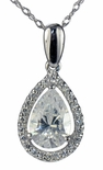 LaRue Halo Pendant 1.5 Carat Pear Cubic Zirconia Necklace