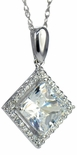 LaRue Halo Pendant 1.5 Carat Princess Cut Cubic Zirconia Necklace