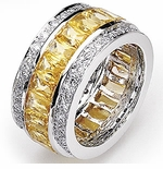 Chiffonne Canary Princess Cut Cubic Zirconia Pave Set Round Eternity Band