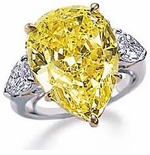 Perrazza 9 Carat Canary Pear Cubic Zirconia Engagement Ring