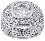 Formaggio Bezel Set Round Cubic Zirconia Pave Encrusted Ring