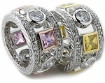 Pelligrosso Bezel Set Round and Princess Cut Micro Pave Eternity Band