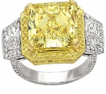 Vizcaya 5.5 Carat Canary Princess Cut Halo Cubic Zirconia Trapezoid Ring