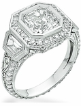 Rizzetta Princess Cut Cubic Zirconia Trapezoid Pave Set Round Halo Ring
