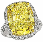 Ellia 9 Carat Canary Elongated Cushion Cut Halo Pave Solitaire