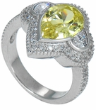 Piezza 3 Carat Canary Pear Cubic Zirconia Half Moon Bezel Set Pave Encrusted Ring