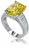 Mistique 5.5 Carat Canary Elongated Cushion Cut Cubic Zirconia Channel Set Baguette Solitaire