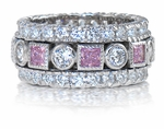 Fantasy Bezel Set Alternating Round Cubic Zirconia Pink Princess Cut Eternity Band