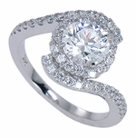 Madeleine 1 Carat Round Cubic Zirconia Micro Pave Halo Bypass Solitaire Engagement Ring