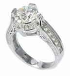 Gabriella 2 Carat Round Antique Estate Style Cubic Zirconia Pave Engraved Solitaire Engagement Ring