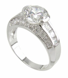 Altore 1.5 Carat Round Cubic Zirconia Semi Bezel Set Solitaire Princess Cut Pave Engagement Ring