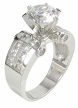 Round 2 Carat Cubic Zirconia Princess Cut Channel Set Solitaire Engagement Ring