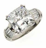 Charis Cushion Cut Cubic Zirconia Double Prong Channel Set Baguette Solitaire Engagement Rings