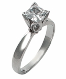 Princess Tulip 1 Carat Princess Cut Square Cubic Zirconia Flower Petal Solitaire Engagement Ring