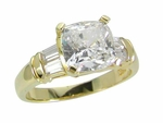 Callista 1.5 Carat Cushion Cut Cubic Zirconia Solitaire Channel Set Baguette Solitaire Engagement Ring